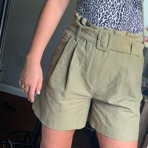 Zara women paper bag shorts